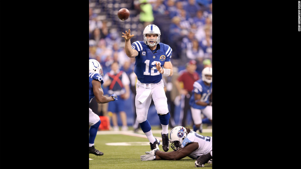 Colts quarterback Andrew Luck throws a pass against the Titans on Sunday.