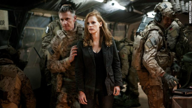 "Jessica Chastain plays CIA analyst Maya, a woman in a predominantly masculine world, in Kathryn Bigelow's ""Zero Dark Thirty."""