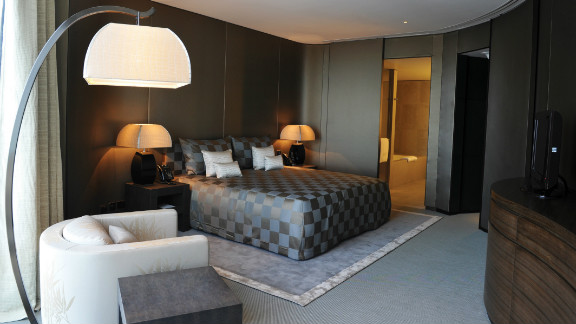The first Armani Hotel opened in Dubai's scrawling Burj Khalifa -- the world's tallest building. The rooms are furnished with items from the Armani Home collection.