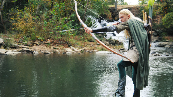 """Palmer met her boyfriend, Chris Herzberg, a dead ringer for Legolas, at Atlanta's Dragon*Con a few years ago. They work together on her costuming business and plan to attend a weekend screening of """"The Hobbit"""" in full dress."""