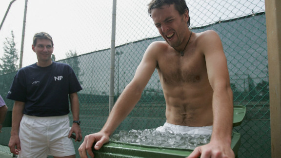 Tennis player Lee Childs suffers for Great Britain ahead of a 2005 Davis Cup clash with Israel.