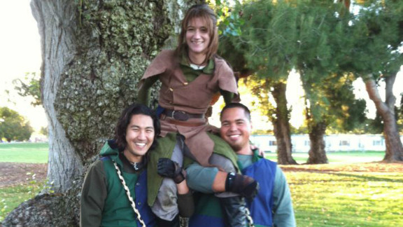 """Samm Green, who often portrays an elf of Mirkwood, takes part in the game of Dagorhir. """"In a way, Dagorhir is similar to a LARP,"""" he says, referring to live action role-playing in which people act out characters. """"There is just more emphasis on the battle part."""""""