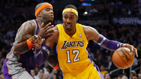"""Having spent most of his career in Orlando, Dwight Howard, also known as """"Superman,"""" joined the L.A. Lakers this year with an already impressive list of accomplishments. He is the only player to lead the league in rebounds in five consecutive seasons, and he has led the league in blocks per game three times and double-doubles twice. He"""