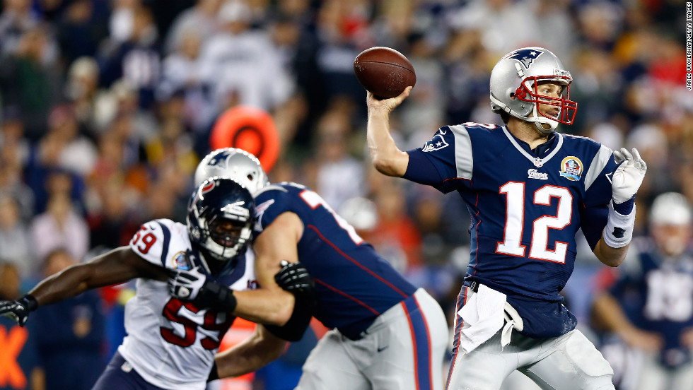 Patriots quarterback Tom Brady fires a pass in the first half Monday night against the Houston Texans.