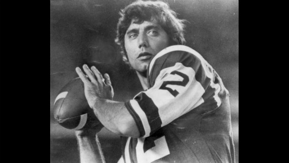 """""""Broadway"""" Joe Namath was nothing if not flamboyant, whether it was rocking a full-length fur coat on the sidelines or guaranteeing a Super Bowl win over the highly favored Baltimore Colts in Super Bowl III (his New York Jets pulled off a 16-7 shocker). Signed for $400,000 in 1965, he played 13 seasons, mostly with the Jets, and played in four AFL all-star games and one Pro Bowl."""
