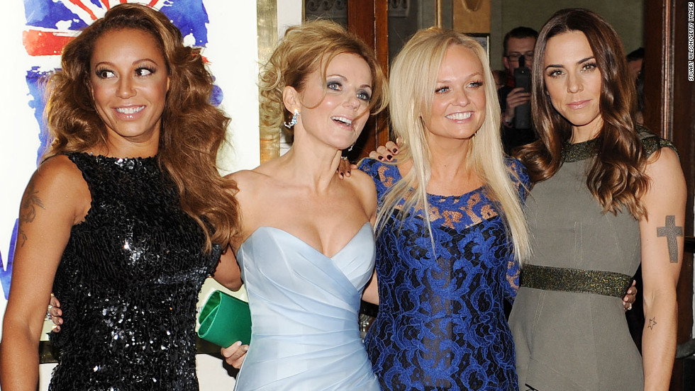 "Melanie Brown, Geri Halliwell, Emma Bunton and Melanie Chisholm attend the press night of ""Viva Forever,"" a musical based on the music of the Spice Girls, in London on Tuesday."