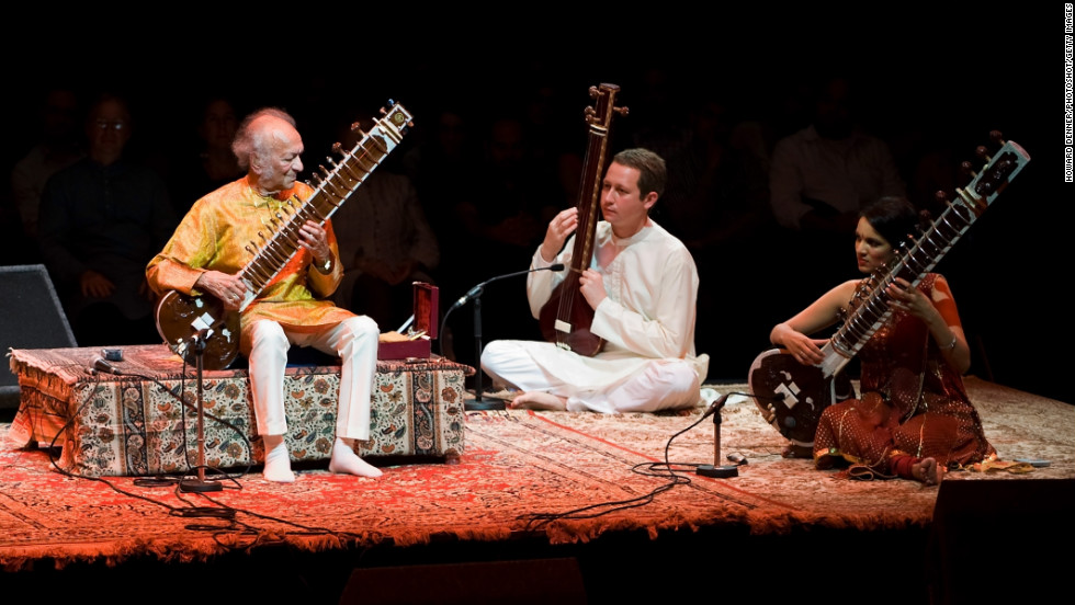 Shankar performs with his daughter, Anoushka Shankar, right, in London in June 2008 during his final tour of Europe.