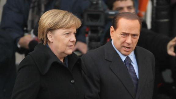 German Chancellor Angela Merkel and former Italian Prime Minister Silvio Berlusconi in Berlin, Germany on January 12, 2011.