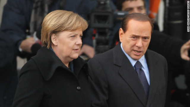 German Chancellor Angela Merkel and former Italian Prime Minister Silvio Berlusconi in Berlin, Germany on January 12, 2011.
