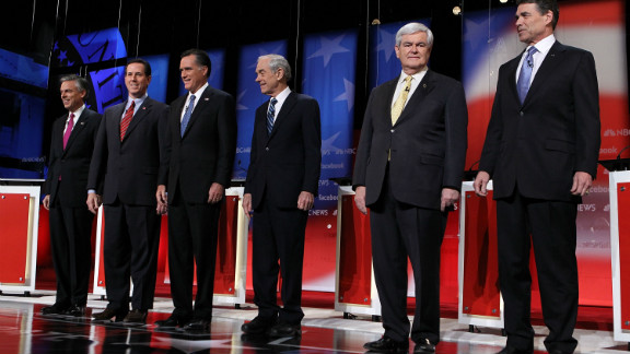 The Republican presidential primary fight ran into April when Mitt Romney finally overtook Rick Santorum. The road to the nomination included periods when frontrunner status changed hands in the field that included former House Speaker Newt Gingrich, businessman Herman Cain, Rep. Michele Bachmann, former Utah Gov. John Huntsman and Texas Gov. Rick Perry.