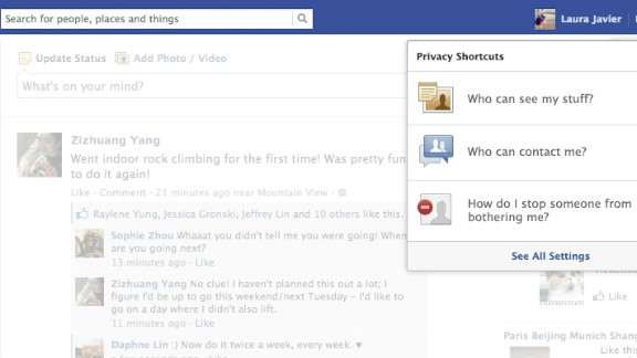 Under Facebook's changes, privacy tools will be accessible from the toolbar.