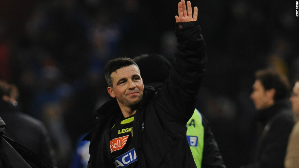 Udinese captain Antonio Di Natale salutes the sole traveling fan after the match, having scored in his team's 2-0 win at Stadio Luigi Ferraris in Genoa.