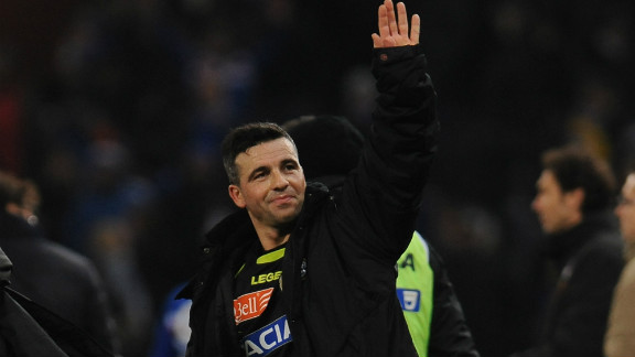 Udinese captain Antonio Di Natale salutes the sole traveling fan after the match, having scored in his team