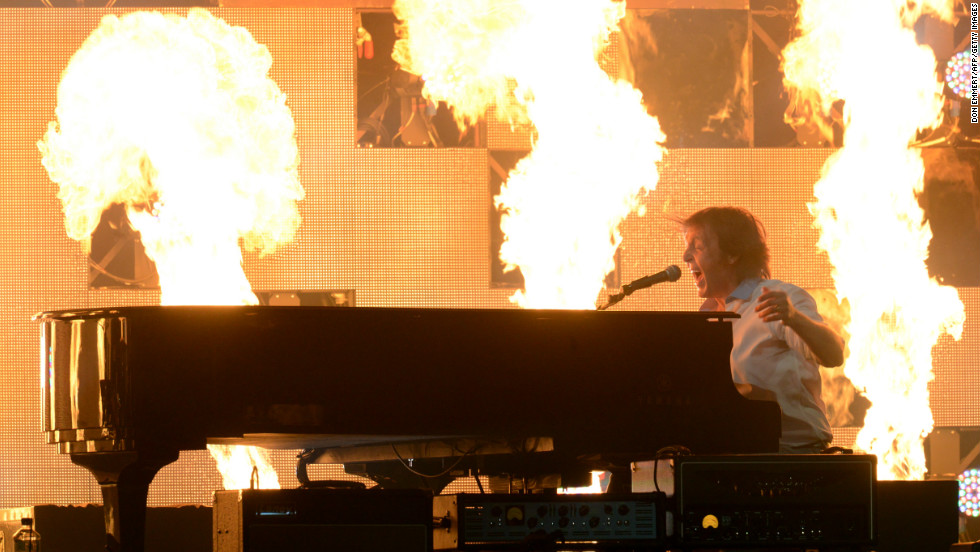 McCartney performs amid huge pyrotechnic displays.