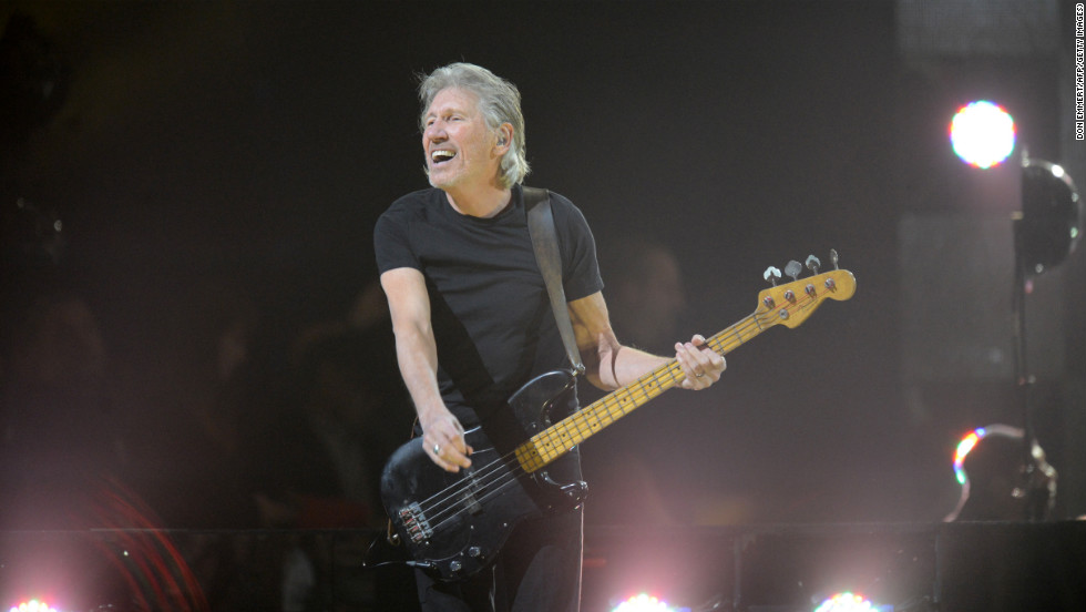 English musician Roger Waters of pink Floyd performs during his set at the benefit.