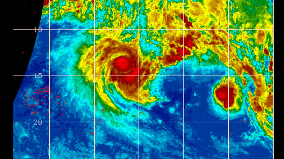 Satellite image of Cyclone Evan over Samoan islands
