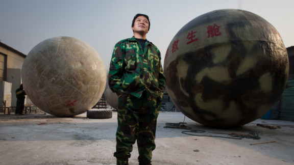 Chinese villager Liu Qiyuan, pictured here on December 11, has constructed six survival pods that can be used in the event of tsunamis and earthquakes.