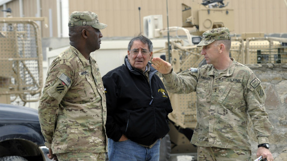U.S. Defense Secretary Leon Panetta, center, visits Afghanistan's Kandahar airfield Thursday.