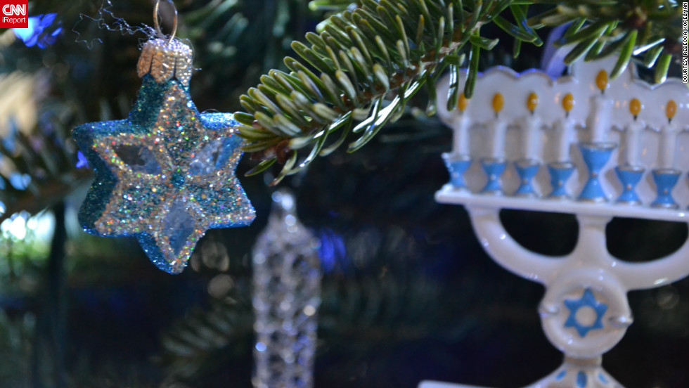 Image result for christmas tree and hanukkah lights