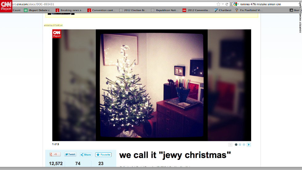 "<a href=""http://ireport.cnn.com/docs/DOC-893431"">Michelle Frantz</a> and her husband, a ""Brooklyn Italian and Texan Jew,"" didn't really celebrate either holiday until the birth of their 2-year-old son, Leo. ""We sing 'Jingle Bells,' we light the Chanukah candles and open gifts when we feel like it!"" she explained."