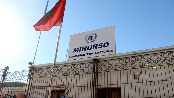 The headquarters of MINURSO in Laayoune. (The United Nations Mission for the Referendum in Western Sahara.) MINURSO is a U.N. peacekeeping mission, and does not have a human rights mandate.
