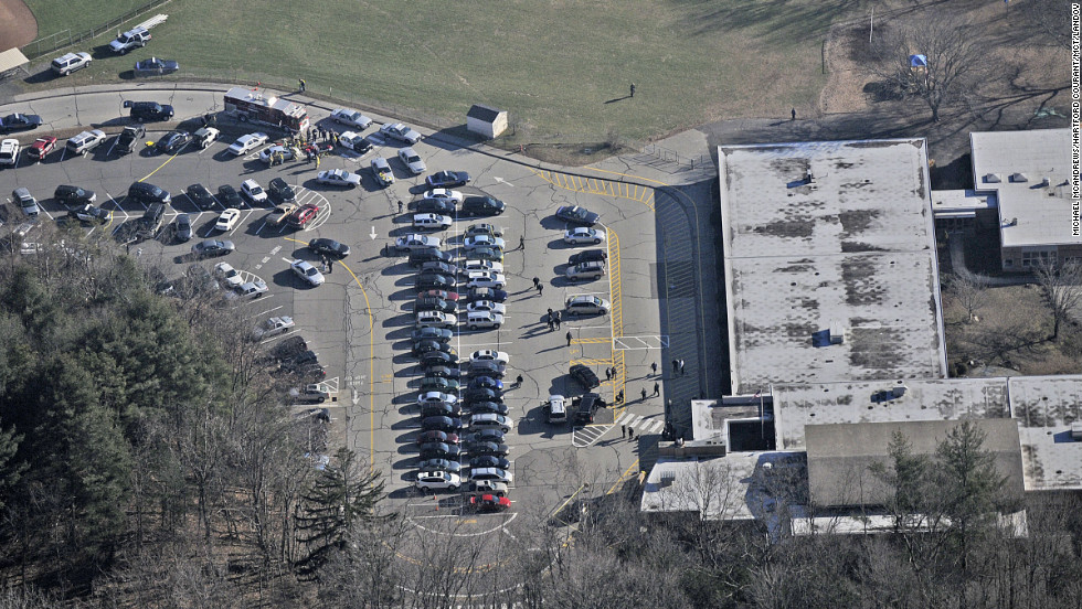 An aerial view of Sandy Hook Elementary School in Newtown, Connecticut on December 14.