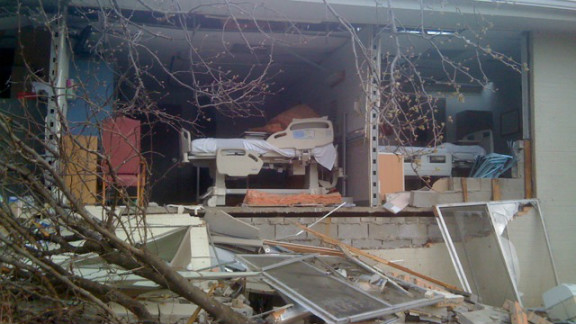 """Hospital rooms were completely destroyed after a <a href=""""http://ireport.cnn.com/docs/DOC-755579"""">tornado</a> hit Harrisburg, Illinois in February. Jane Harper, a nurse there, took this photo after moving patients out of harm's way. She went to check one of the patient rooms, and found that the room was no longer there."""