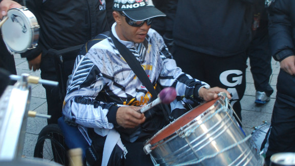 As well as the flags, banners and scarves, no Brazilian group of supporters would be complete without a drummer.
