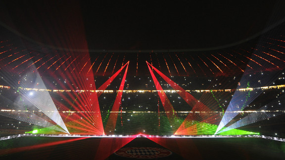 The Allianz Arena was lit up with a laser show to farewell the players, who will start a four-week break after Tuesday