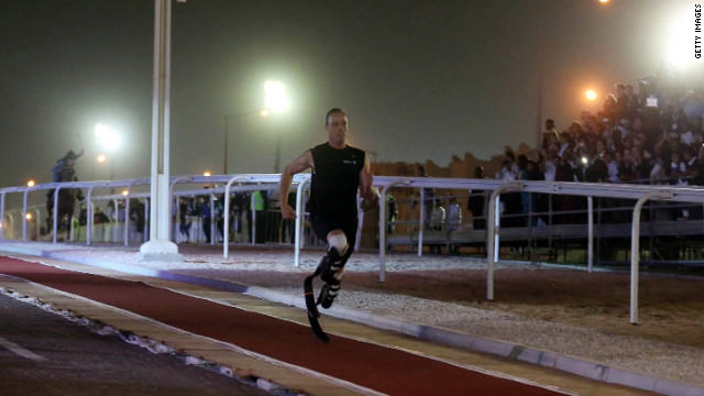 South Africa's Oscar Pistorius, a six-time Paralympic gold medal winner, raced an Arab horse on Wednesday.