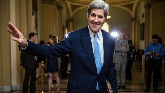 U.S. Sen. John Kerry, D-Massachusetts, walks to the Senate chamber in the U.S. Capitol earlier this month.