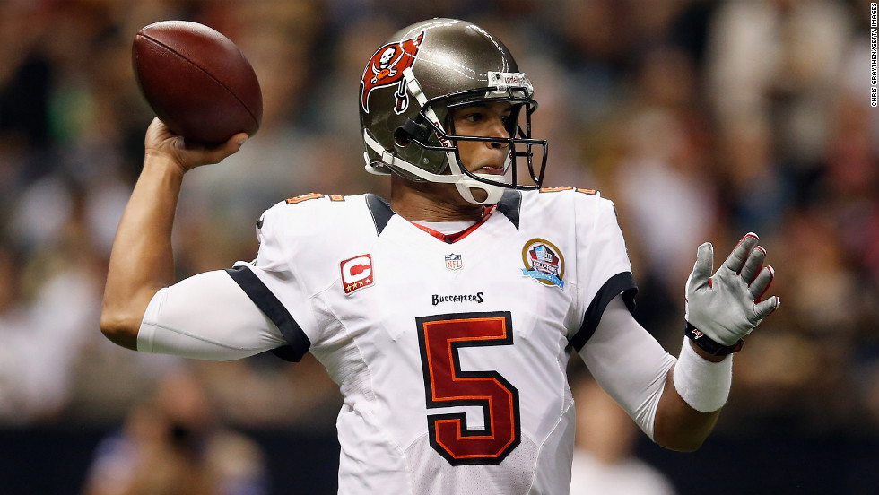 Josh Freeman of the Tampa Bay Buccaneers looks to throw a pass against the New Orleans Saints at the Mercedes-Benz Superdome on Sunday in New Orleans.