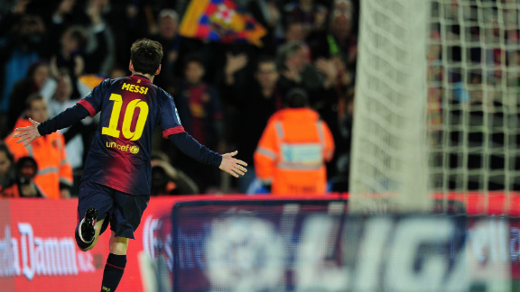 Messi celebrates after scoring his 25th league goal of the season and 34th overall. It