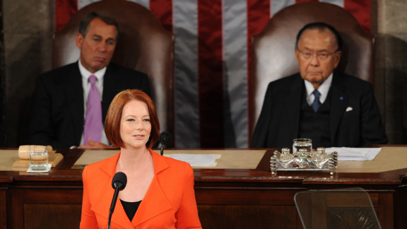 Inouye, right, and Speaker of the House John Boehner listen to Australian Prime Minister Julia Gillard address Congress on March 9, 2011. Inouye was the second longest-serving U.S. senator in the chamber