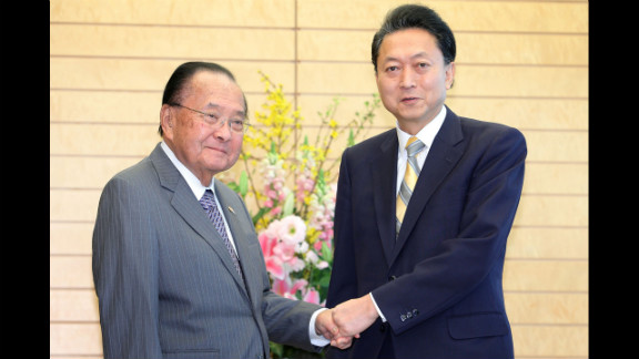 Inouye, left, shakes hands with Japanese Prime Minister Yukio Hatoyama before their meeting on January 15, 2010, in Tokyo. Inouye was a senator for all but three of the Hawaii