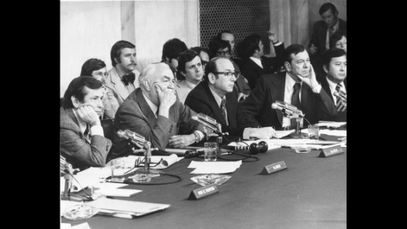 Sen. Howard Baker of Tennesse (from left), Sen. Sam Irvin of North Carolina, Majority Council Sam Dash, Sen. Herman Talmadge of Georgia and Inouye listen to the testimony of James McCord, one of the Watergate burglers, on May 18, 1973.