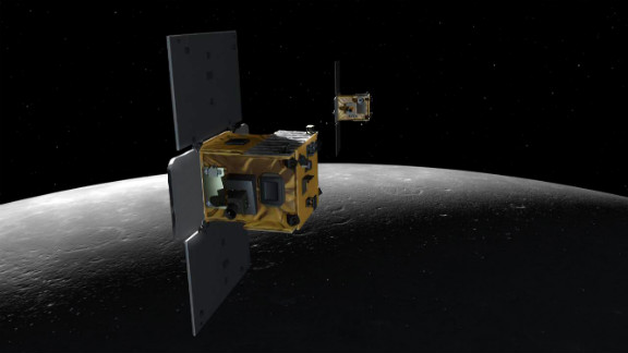 An artist's depiction of the twin probes Ebb and Flow that comprise NASA's Gravity Recovery and Interior Laboratory mission.