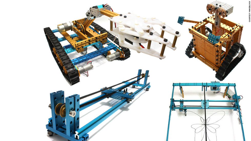 "Makeblock has a wide variety of applications, from cute Wall-E-type robots to a complicated ""XY-stage"" that can be programmed to draw. Various components are available including grippers for robotic arms."