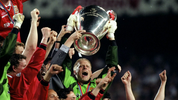 In the absence of suspended skipper Roy Keane, Peter Schmeichel captained Manchester United to European Champions League glory in 1999. United trailed Bayern Munich 1-0 heading into the 90th minute, but stunned the Germans by scoring twice in a matter of minutes to seal a famous 2-1 success. The win completed an historic Champions League, Premier League and FA Cup treble.