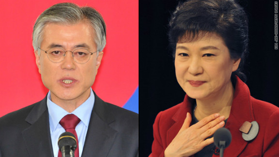 South Korean network YTN says Moon Jae-in, left, has conceded victory to Park Geun-hye.