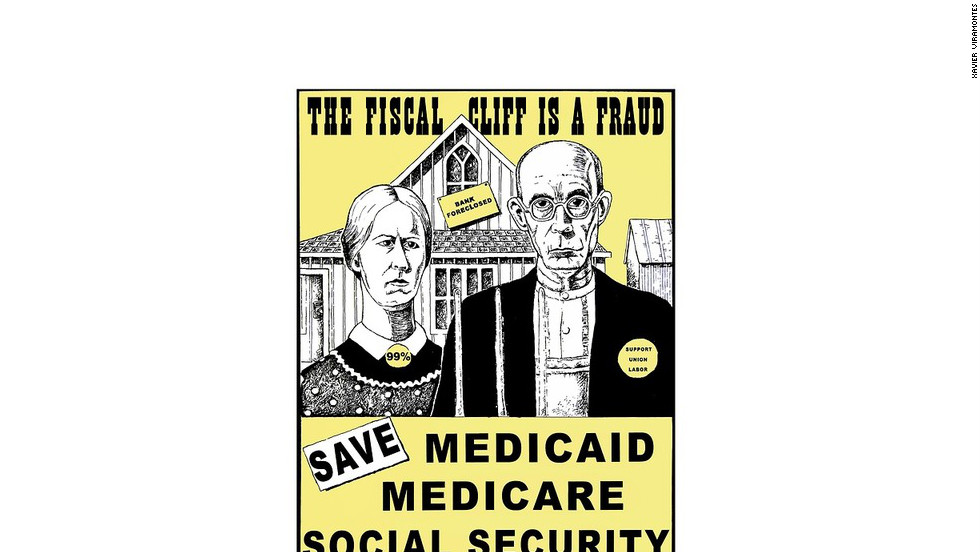 "A cropped version of ""Save Medicare, Medicaid, Social Security,"" by Xavier Viramontes"