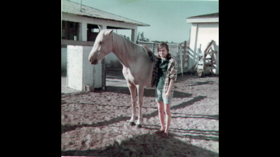 Edwarda with her horse Moonlight in 1967; at a nearby ranch, the sisters