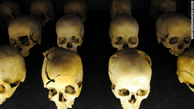 The skulls of victims of the 1994 Rwandan Genocide at the Kigali Genocide Memorial in Kigali, Rwanda on April 7, 2012.