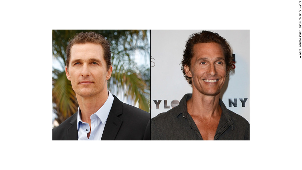 "From thong to thin: Matthew McConaughey reportedly dropped 40 pounds for a role in ""The Dallas Buyers Club,"" and the transformation was startling on the ""Magic Mike"" star."