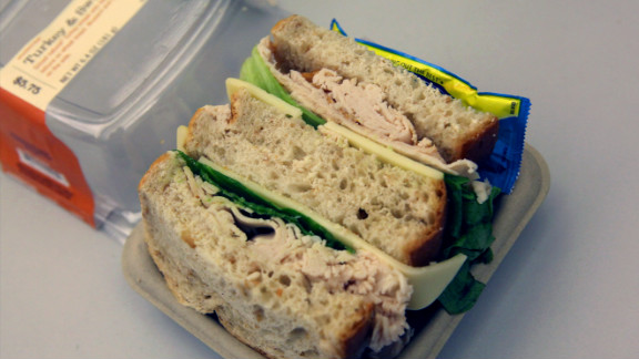 Starbucks' Turkey & Swiss Sandwich: With crispy leaf lettuce peeking through, this 390-calorie sandwich seems harmless enough. But a quick ingredient check reveals salt in the turkey breast, the Swiss, and the wheat bread -- 1,140 milligrams of sodium in all.