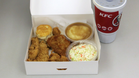 KFC's Variety Big Box Meal: KFC provides nutritional information for individual items. We figure this meal -- a drumstick, a Crispy Strip, an individual box of Popcorn Chicken, two Homestyle sides (we chose mashed potatoes with gravy and cole slaw), a biscuit and a 32-oz. drink (Pepsi) -- blasts the daily sodium maximum, with more than 3,000 milligrams of salt and more than 1,400 calories.