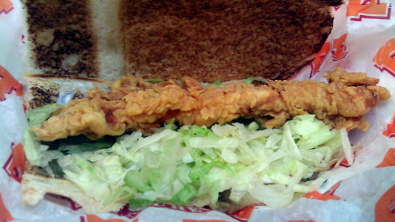 Popeye's Chicken Po' Boy: This Southern favorite nestles two battered, fried chicken tenders in a French baguette with pickles and mayo. This fatty, salty combo has 2,120 milligrams of sodium and 635 calories. You can do better.
