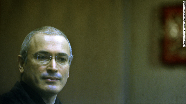 Former Yukos CEO Mikhail Khodorkovsky stands in a Moscow courtroom on November 2, 2010.