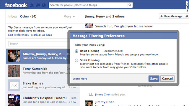 New changes to Facebook's messaging system include the ability to set filters on which messages you see.