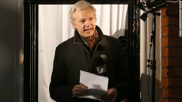 WikiLeaks founder Julian Assange speaks from the Ecuadorian Embassy
